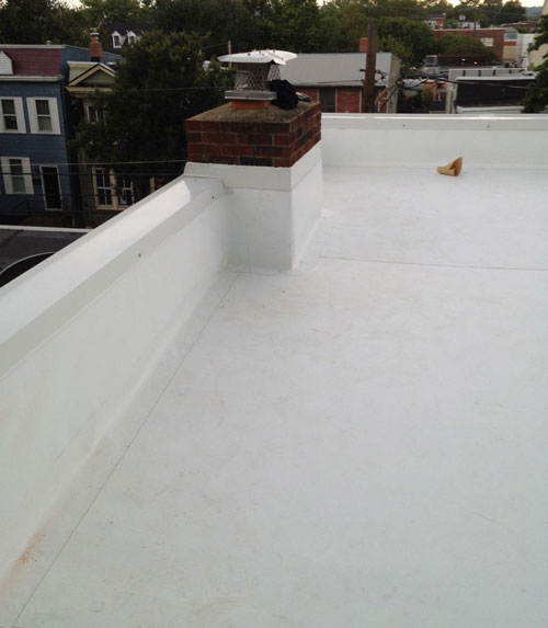 A White TPO Vinyl Roof with Little UV Protection.
