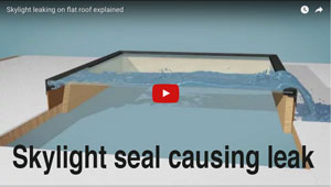 Cracked skylight seal causing leaks - watch this 3d animated video to see where a skylight can leak