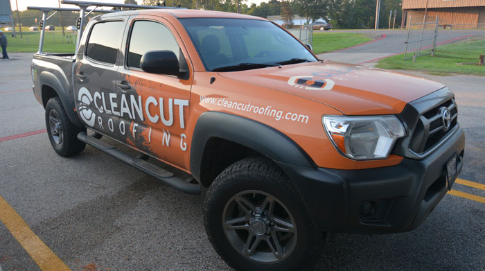 Clean Cut Roofing Truck for the salesman