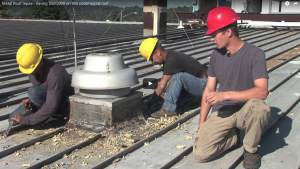 Repairing a leaky metal roof