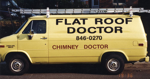 Our first van when we started to install rubber roofing.