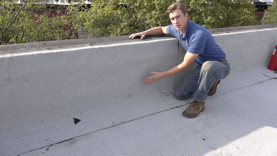 Membrane Instead of Tar - Walls and chimneys are covered with a rubber membrane Brooklyn