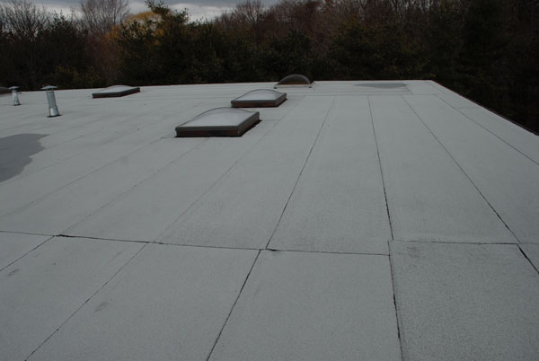 This image shows a 2 ply Modified Bitumen torch down roofing system.