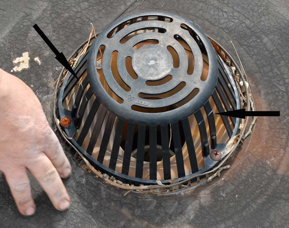 Plastic flat roof drain strainers don't last and often are the cause for roof problems