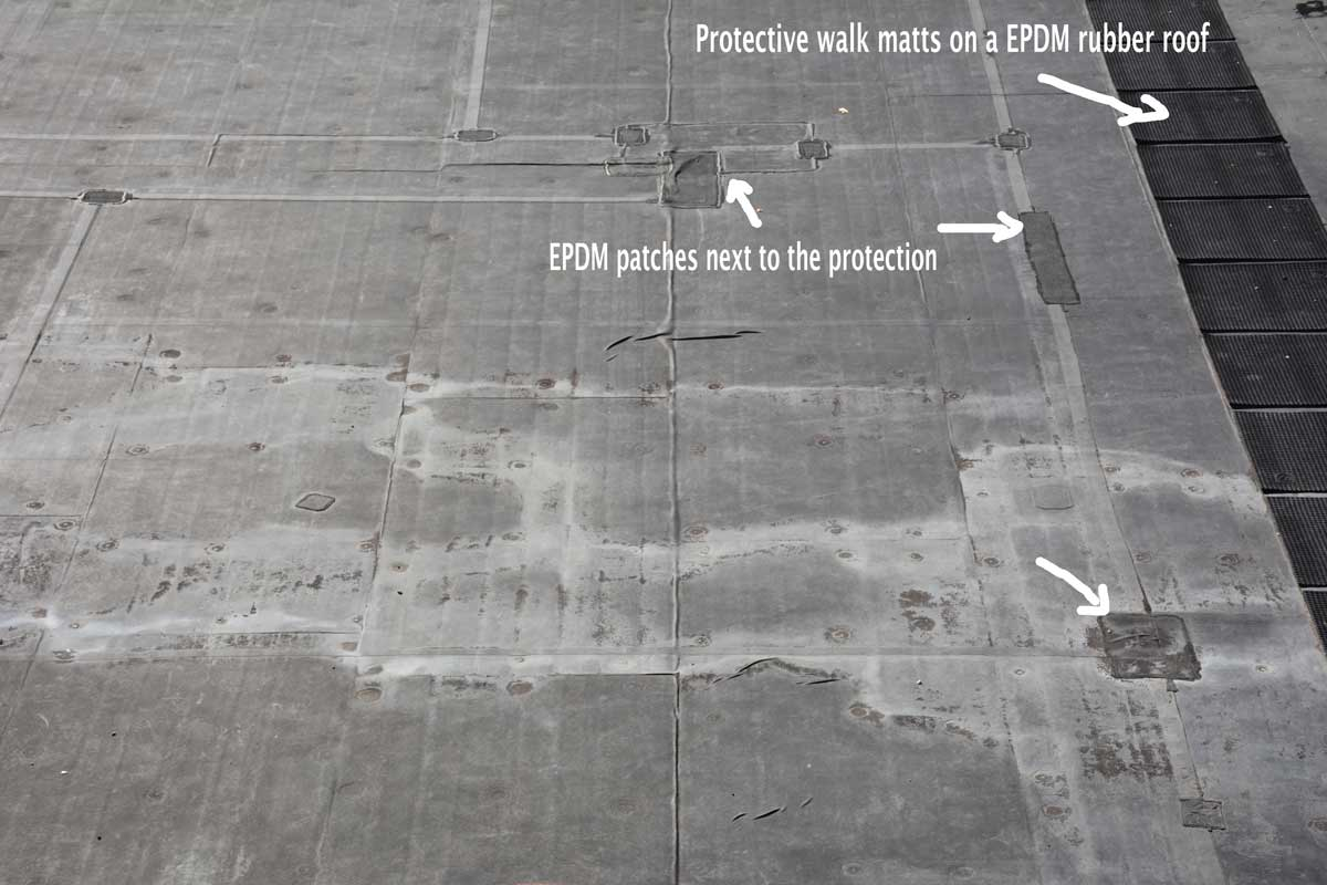EPDM Rubber and Torch Down Rubber - The patches are an indication of an EPDM Rubber Roof failing prematurely.