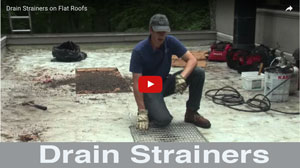Drain Strainers for a flat roof. Custom strainers are better. Watch this video how it works