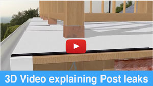 3D Video explaining leaks around posts on flat roof decks