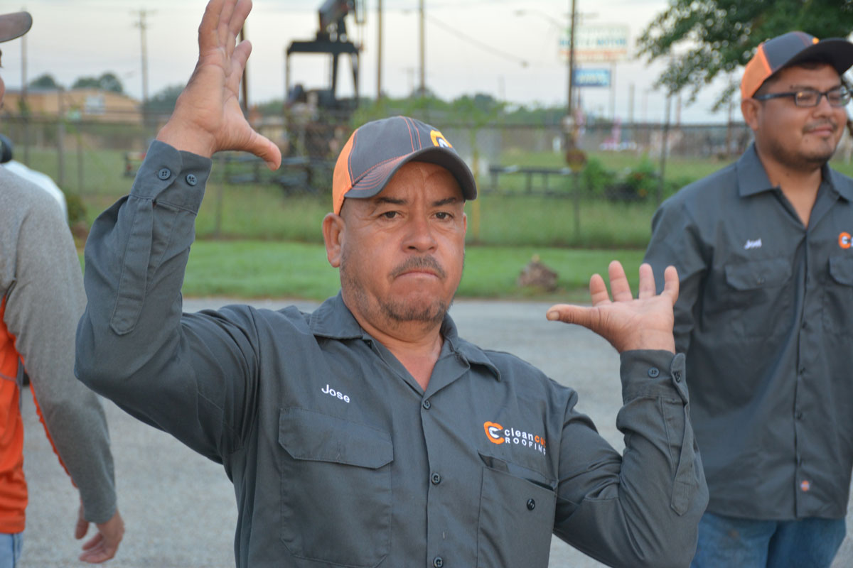Happy employee at Clean Cut roofing, Longview Texas