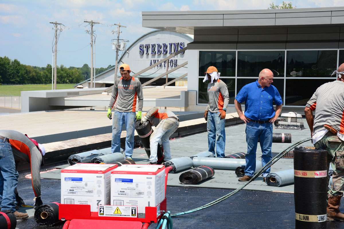 Flat roof installation at East Texas Regional Airport by Clean Cut Roofing