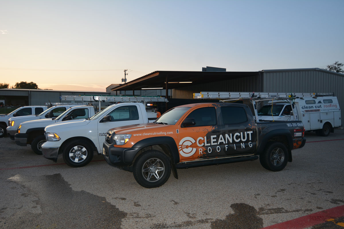 Sales trucks and work trucks at Clean Cut Roofing Longview Texas