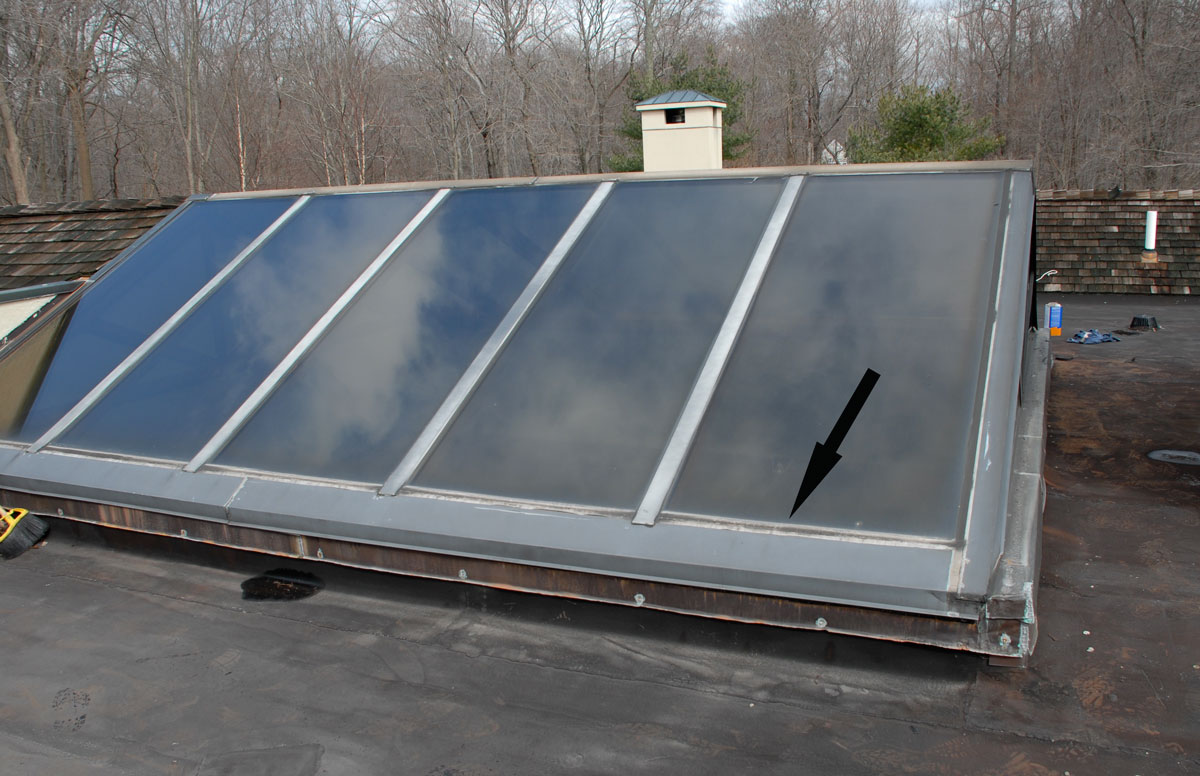 Skylight repair on a residential roof